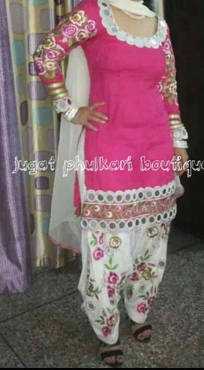 Floral Embroidery With Mirror Work On Patiala Shahi Suit.... | Mirror Work | Pinterest | Suits ...