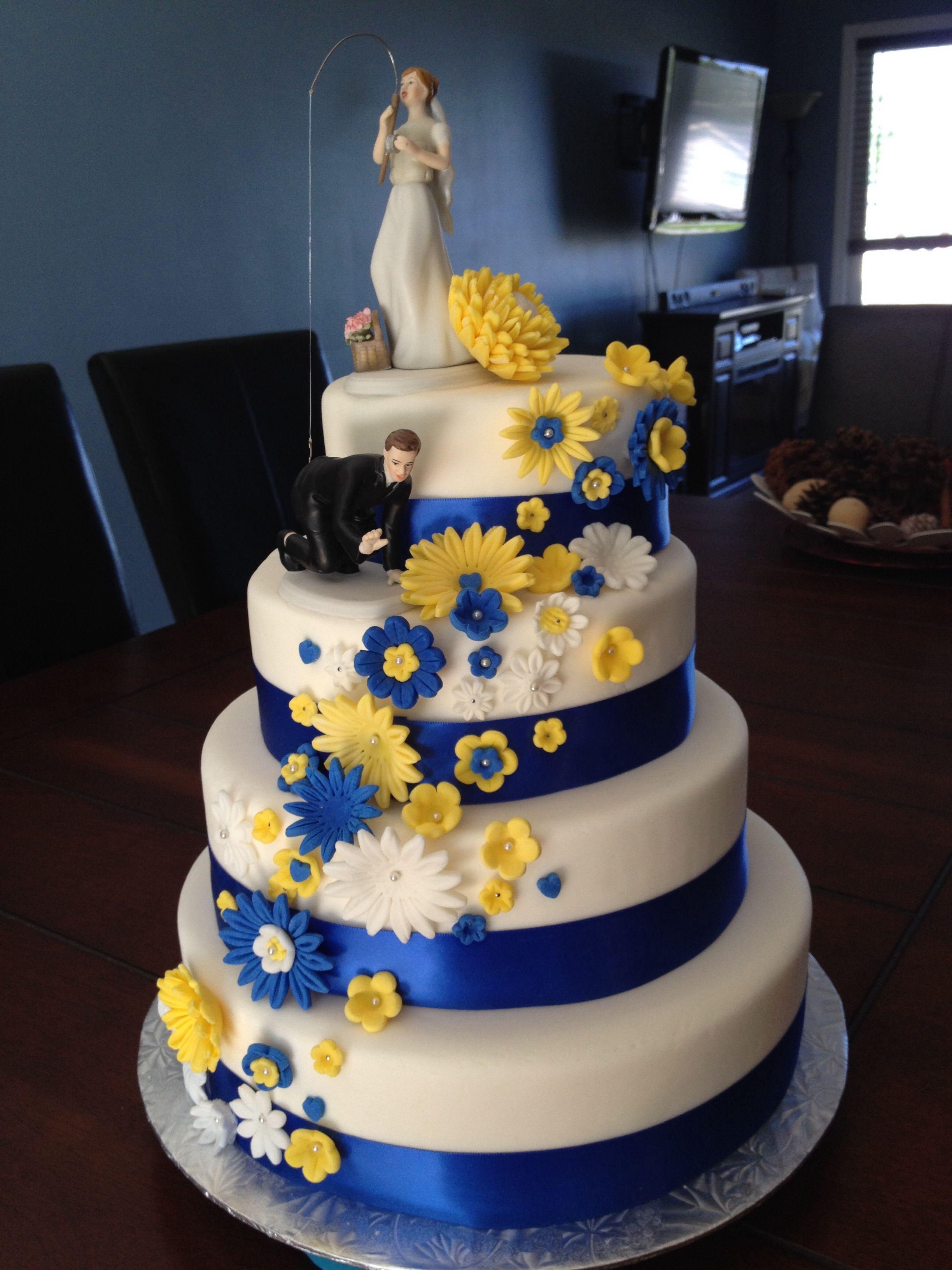 Fishing themed wedding cake i made for my cousins wedding