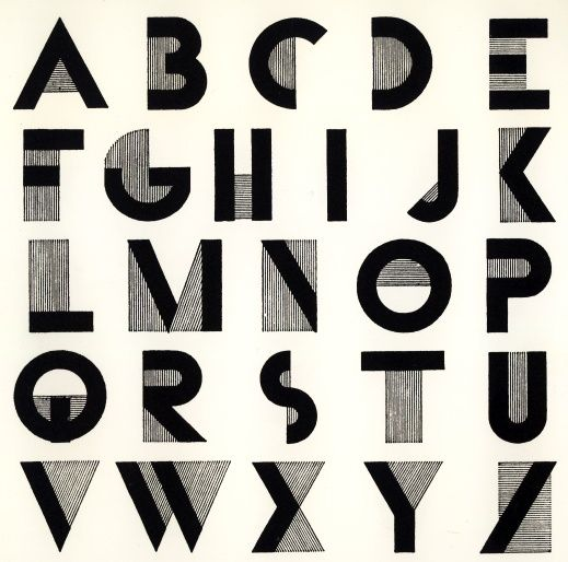 Letters of the alphabet in an art deco typography