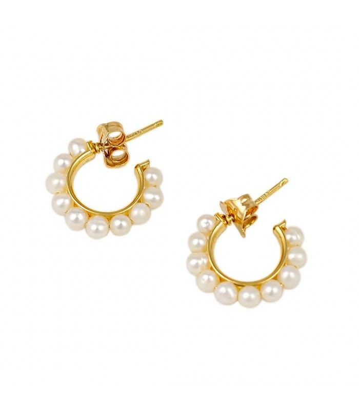 0f09e82635d9 Aros de Oro Amarillo 18kt y Perlas Cultivadas