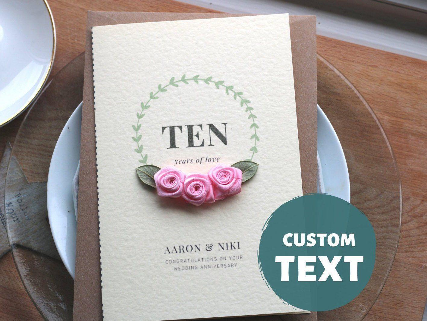 Romantic 10th Wedding Anniversary Card Custom Numbers Etsy Wedding Anniversary Cards Anniversary Cards Anniversary Cards Handmade