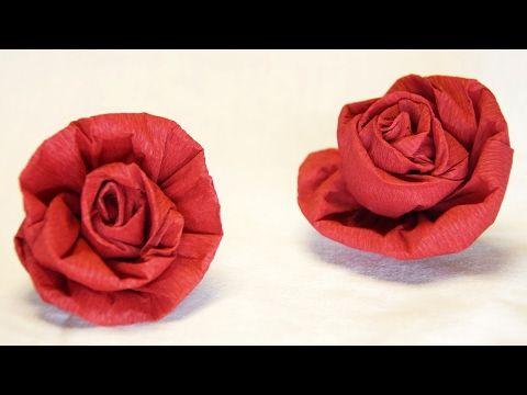 Krepprose / Rose aus Krepppapier basteln - YouTube