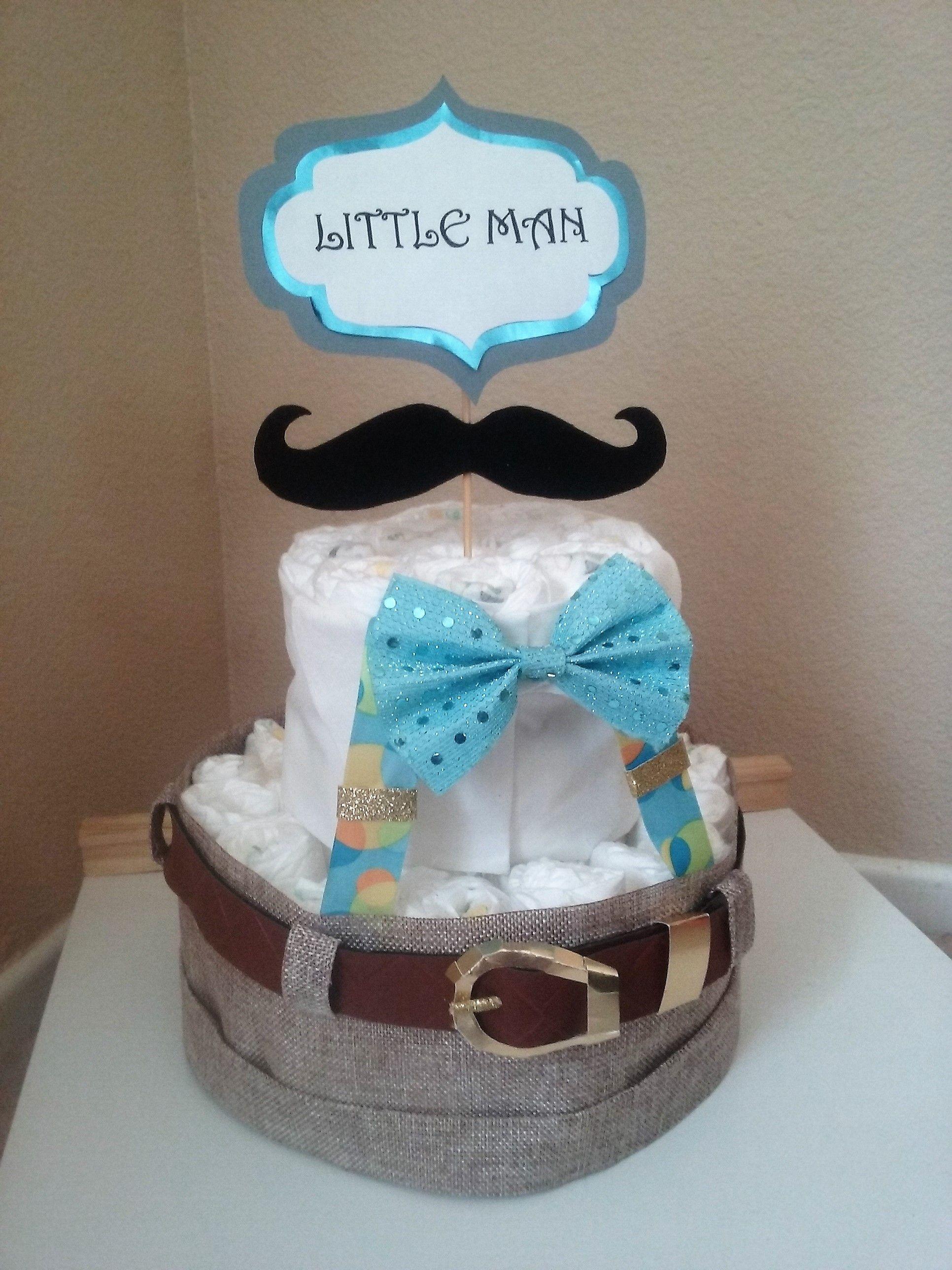 Little Man Baby Shower Diaper Cake Mustache Bow Tie Adorable