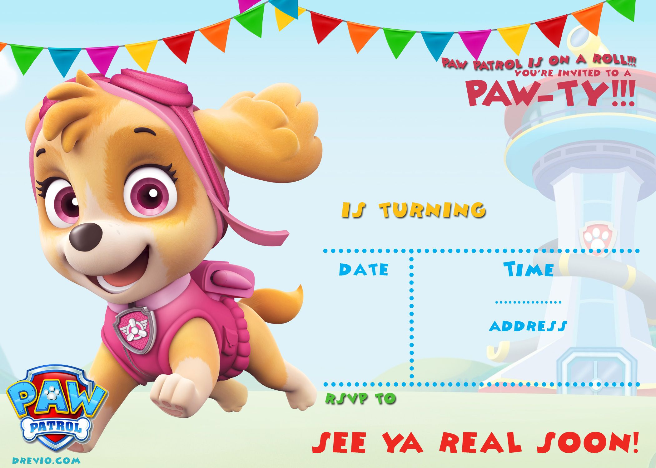 Free FREE Printable Paw Patrol Invitation Template