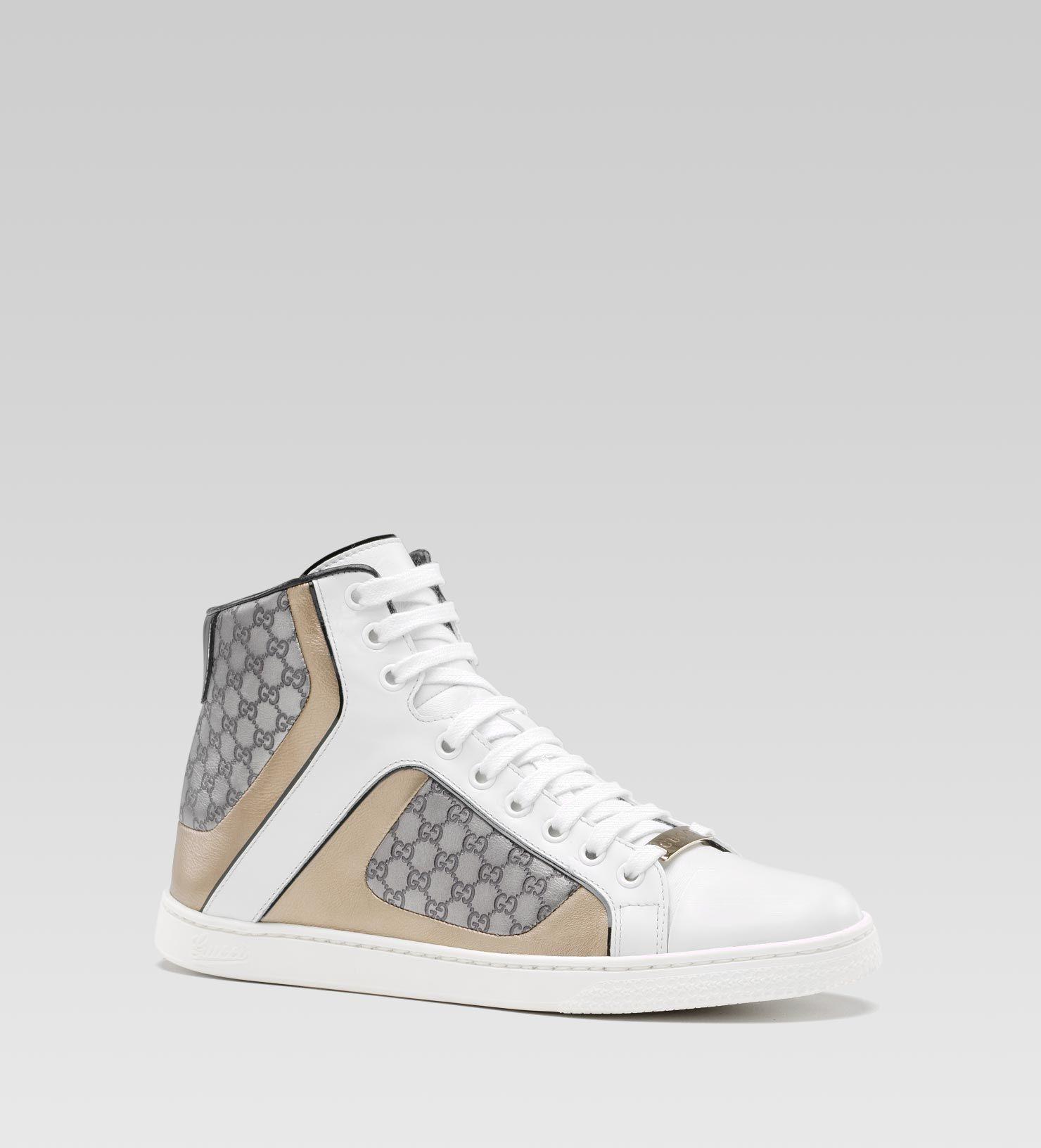 b3d552c8672 description Gucci Coda Pop white and champagne color leather with silver  color micro guccissima leather details