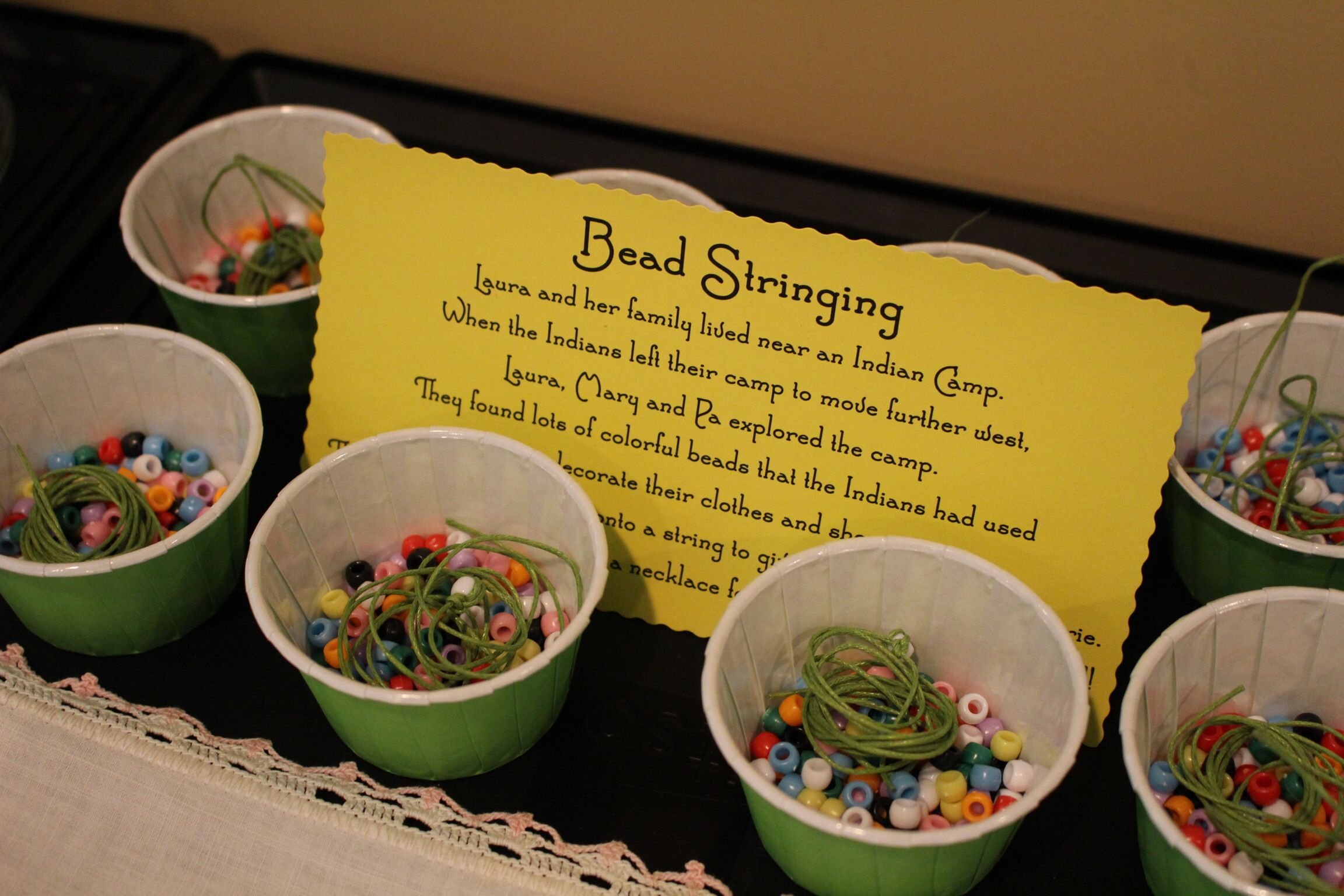 Little House On The Prairie Party Bead Stringing Activity