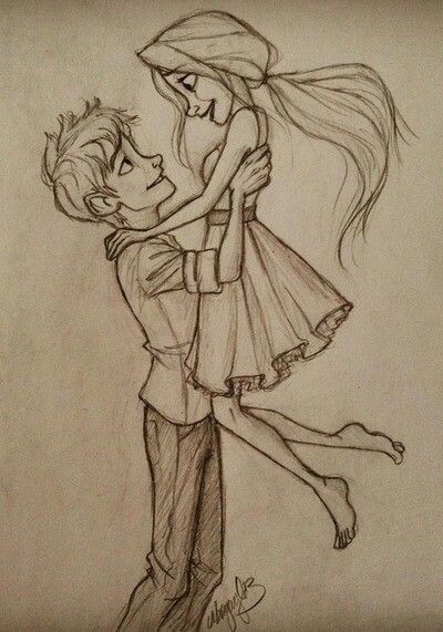 Cartoon couples drawing love pencil
