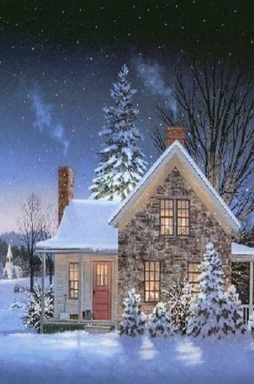 5 f vrier ann e 2017 christmas art christmas paintings et winter scenery - Paysage enneige dessin ...