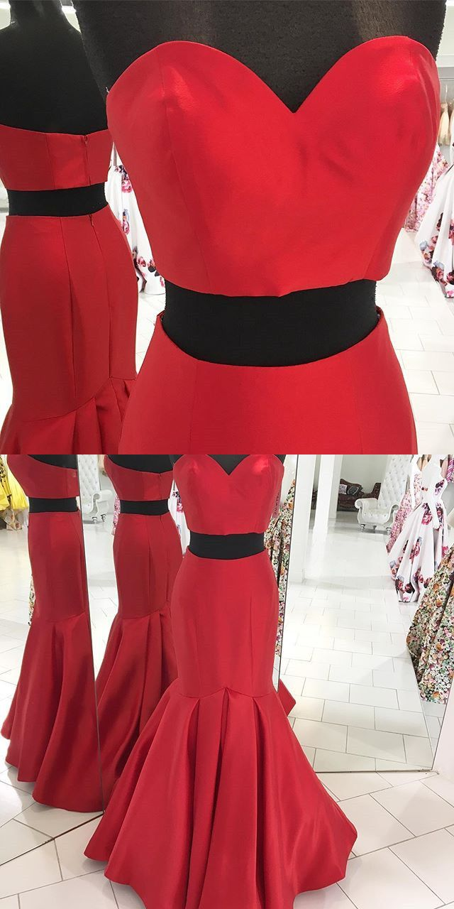 Long prom dress prom dress two piece prom dress red prom