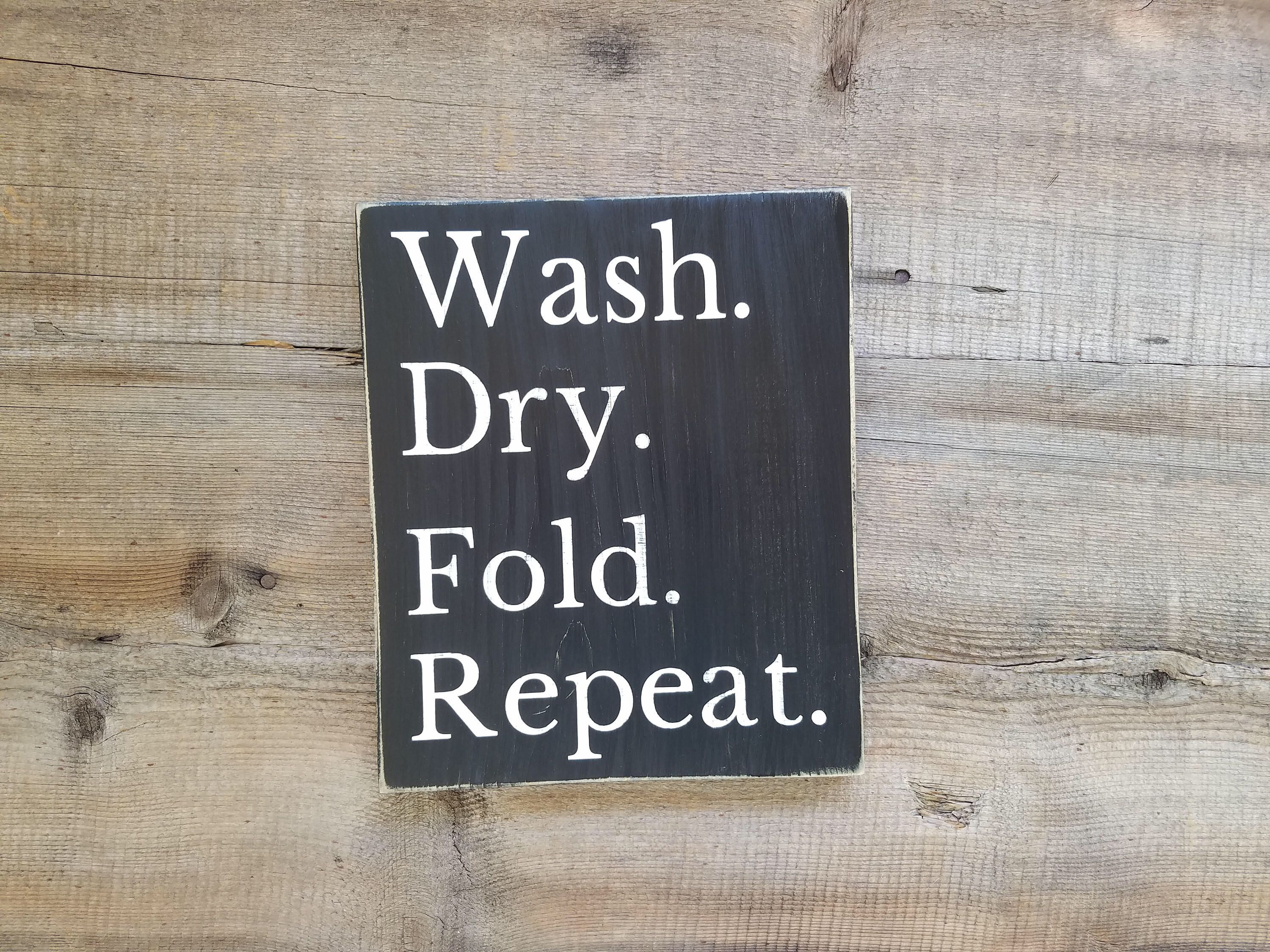 Wash Dry Fold Repeat Laundry Sign. Laundry room sign, laundry, laundry room art, laundry sign, wood laundry sign, laundry decoration #laundrysigns * Shipping Note - First Class Mail and Parcel Select services DO NOT include insurance. If you want your package insured please select a Priority Mail option or message me about adding insurance to your order. I am not responsible for non-insured items and will not issue refunds for lost, missing or damaged uninsured packages. Please message me if you #laundrysigns