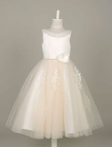 9fc90fb96 Flower Girl Dresses Tulle Pearls Beading Tutu Dress Lace Applique Ivory  Sleeveless Flower Toddler's Dinner Dress