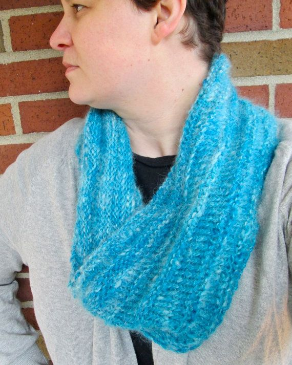 Handspun Blue and White Wool/Mohair Cowl by thepinkwoobie on Etsy (that model in the picture is my beautiful friend.... And she made that too)