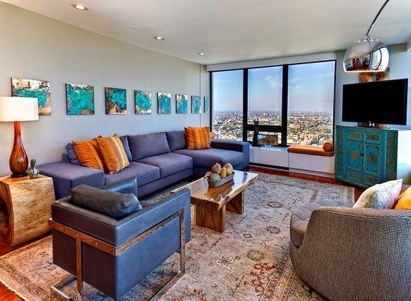 superbe salon avec des accents marron bleu et orange dcoration salon dcor de - Salon Bleu Turquoise Et Marron