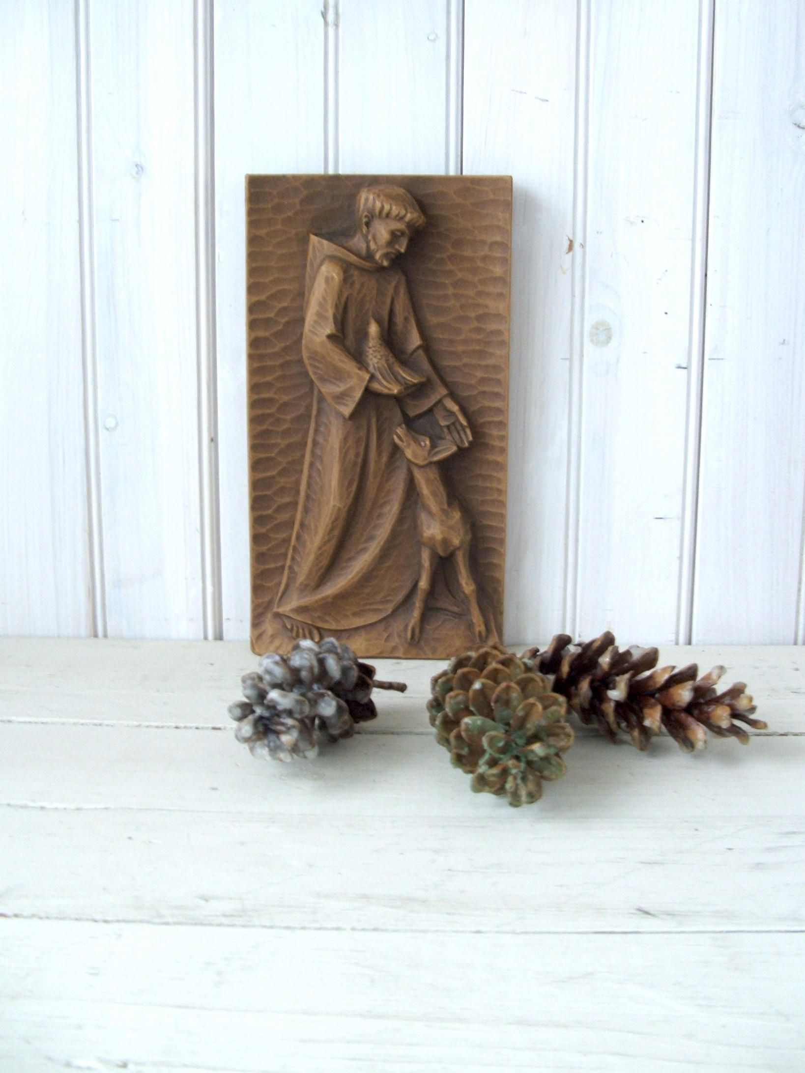 Vintage Saint Francis of Assisi Wall Shelf Plaque by ...