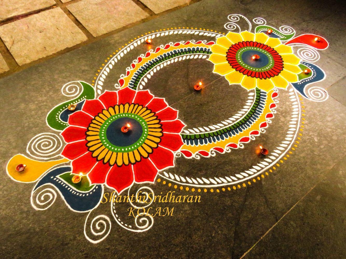 mandalakolam Rangoli designs, Free hand rangoli design