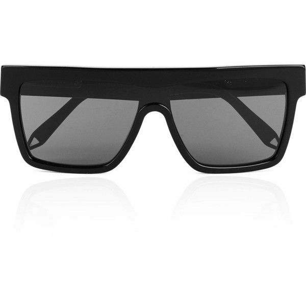 d8c6ba1a78a8 Victoria Beckham Flat Top Visor Sunglasses- Black (£295) ❤ liked on Polyvore  featuring accessories