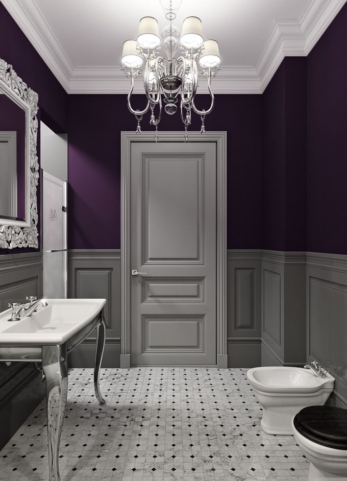Bathroom decor ideas purple paint and chandelier the glamorous homemaker pinterest Purple and black bathroom ideas