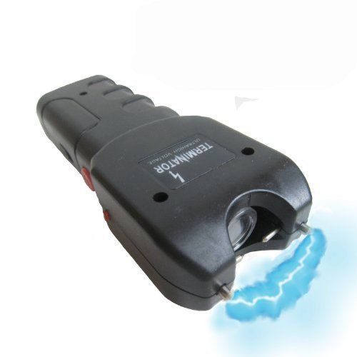 Terminator 9900000 V Stun Gun and LED Flashlight by Terminator. $19.99. The TERMINATOR brand stun gun is one the most powerful stun guns available. Terminator® is a registered US trademark and is exclusively distributed by ZigZagMart on Amazon. Just test firing this unit into the air is often enough to stop an attacker. As the bright electric current pulsates between the test prongs and creates an intimidating electrical sound an attacker with any sense at all will b...