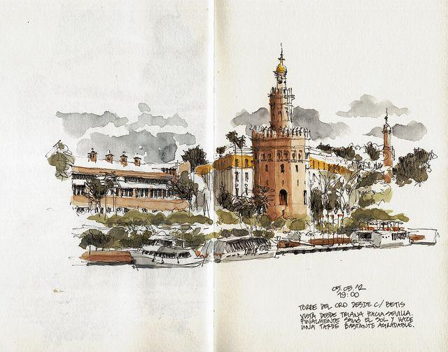 Sevilla Torre Del Oro En 2019 My Moleskine Art Journal Channel