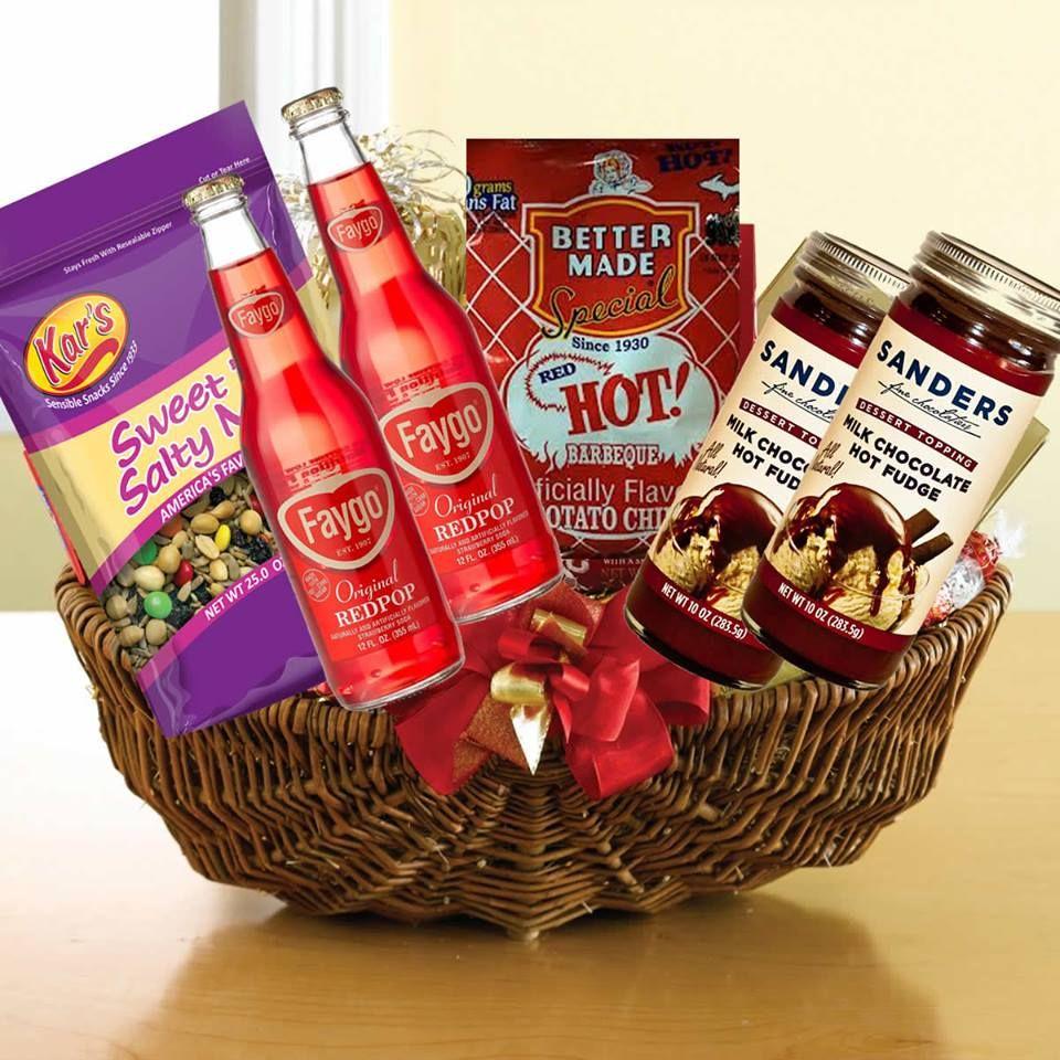 Michigan/Detroit themed gift baskets for Christmas. Items like Faygo, Sanders, Better Made, Germack, Kars, Founders, Bell's, Aracadia, etc.