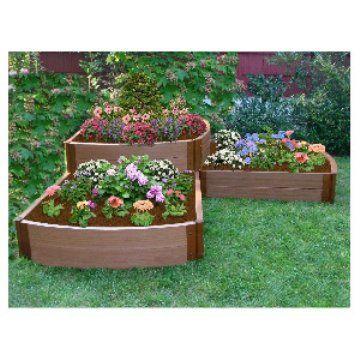 Frame It All Recycled Resin 2 Level Split Waterfall Garden Bed Www Hayneedle Com Raised Garden Raised Garden Bed Kits Garden Bed Kits