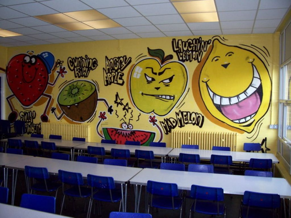 Cool fruit wall murals for kindergarten classroom picture for Classroom mural ideas