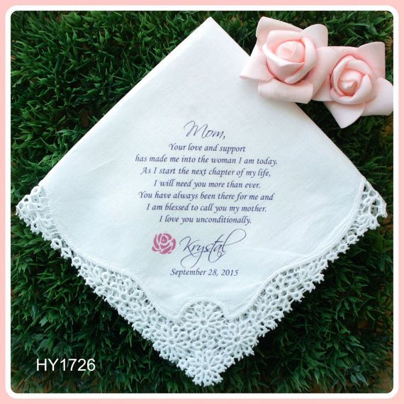 Wedding Handkerchiefs For The Family: Mother Of The Bride Handkerchief