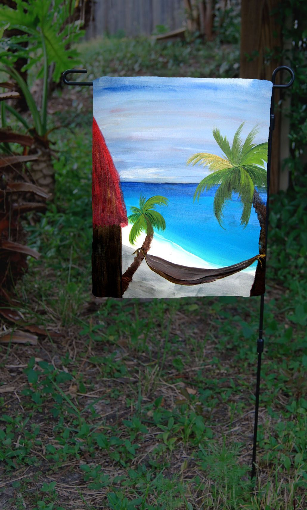 Red Tiki Hut Beach Garden Flag Garden Flag From My Art. Flags Are Made From
