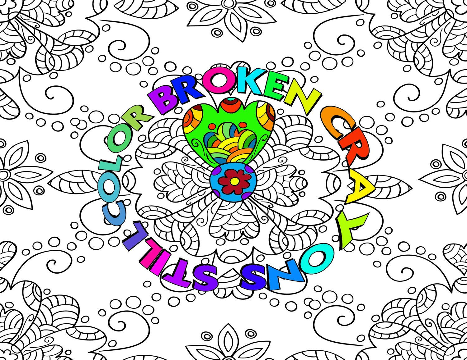 Adult Coloring Page Broken Crayons Still Color Instant Download Printable Take Some Of