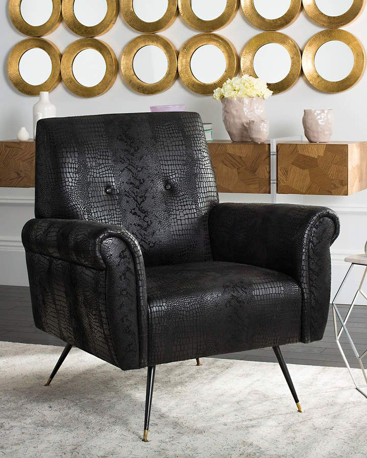 Safavieh Mira Faux Leather Accent Chair Leather Accent Chair Mid Century Accent Chair Modern Glam Living Room