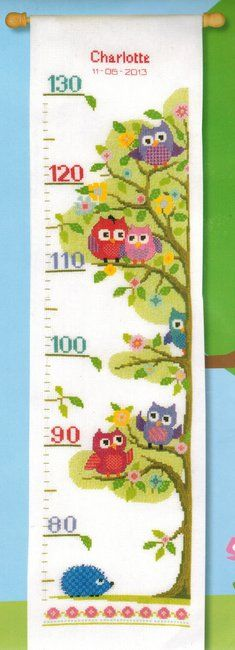 Vervaco Little Owls Tree Height Chart Cross Stitch Kit 0147238 In 2020 Cross Stitch Owl Cross Stitch Kits Cross Stitch Patterns