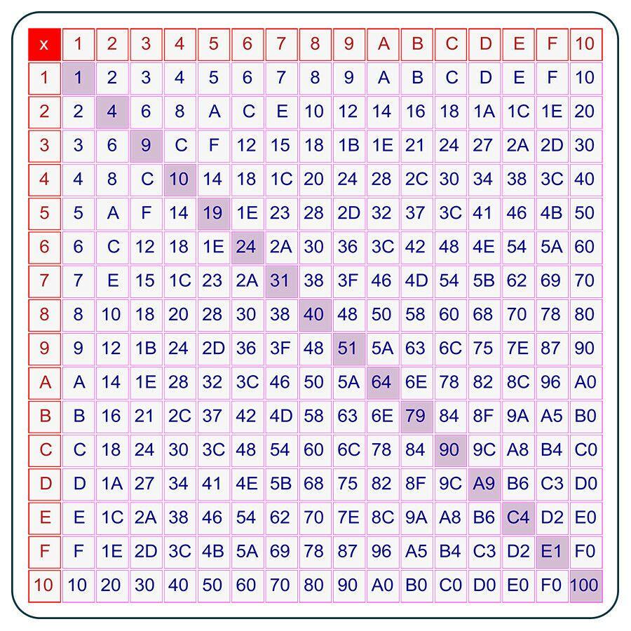 Hexadecimal Multiplication Table 5 5x5 5 Flexible Magnetic Chart