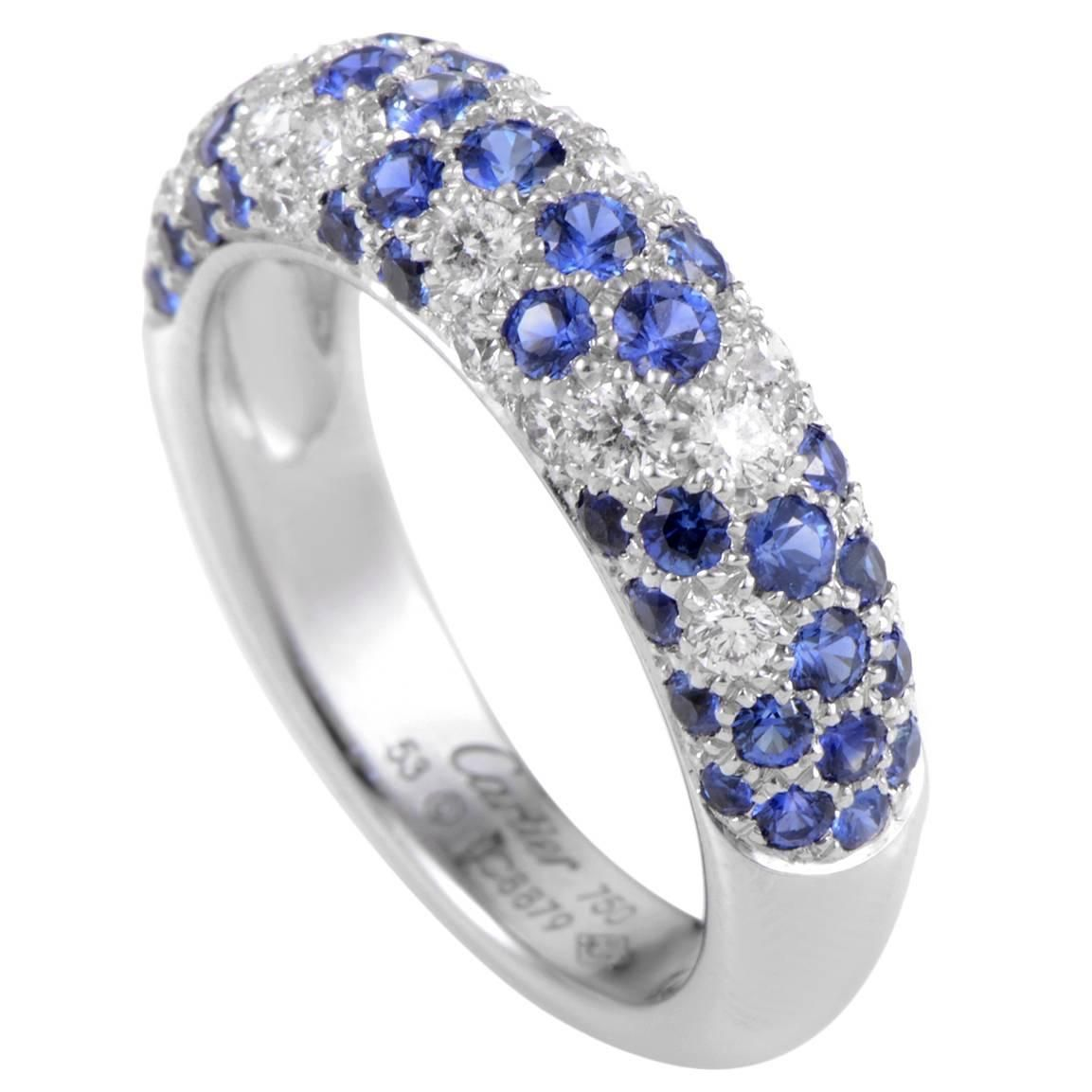 ef337b1d6e9dc Cartier Sapphire Diamond Gold Partial Pave Band Ring | Fun stuff ...