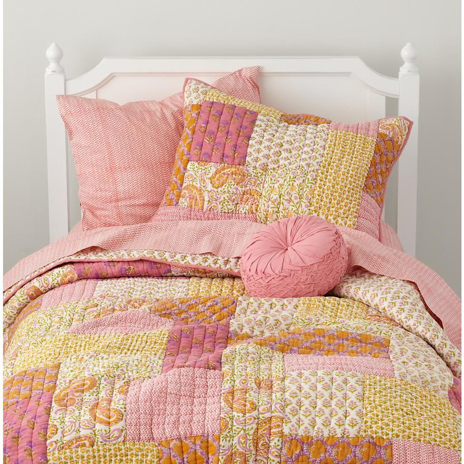 The Land of Nod Girls Bedding Pink and Yellow Patchwork