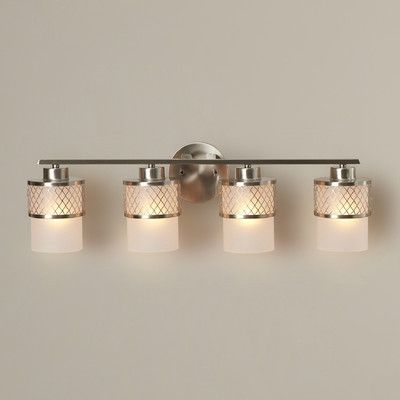 Darby Home Co Lofton 4 Light Vanity Light Finish/Shade Color: Brushed Nickel / Frosted