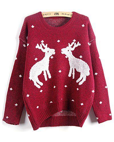Emoyi Women Girl Ugly Christmas Shining Reindeer Snowflak