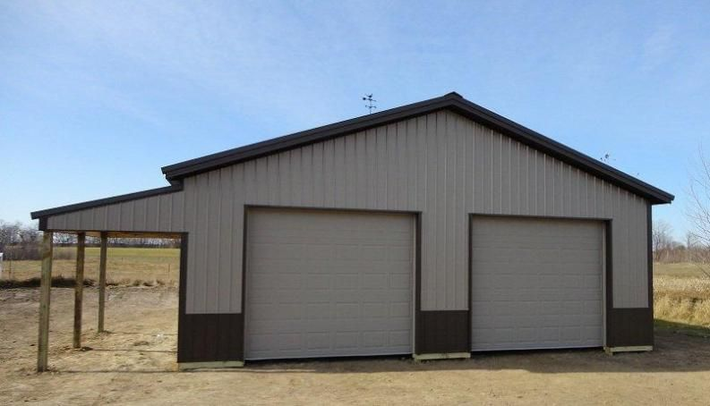 Pole barn garage with lean lean to pictures building for Metal building workshop plans