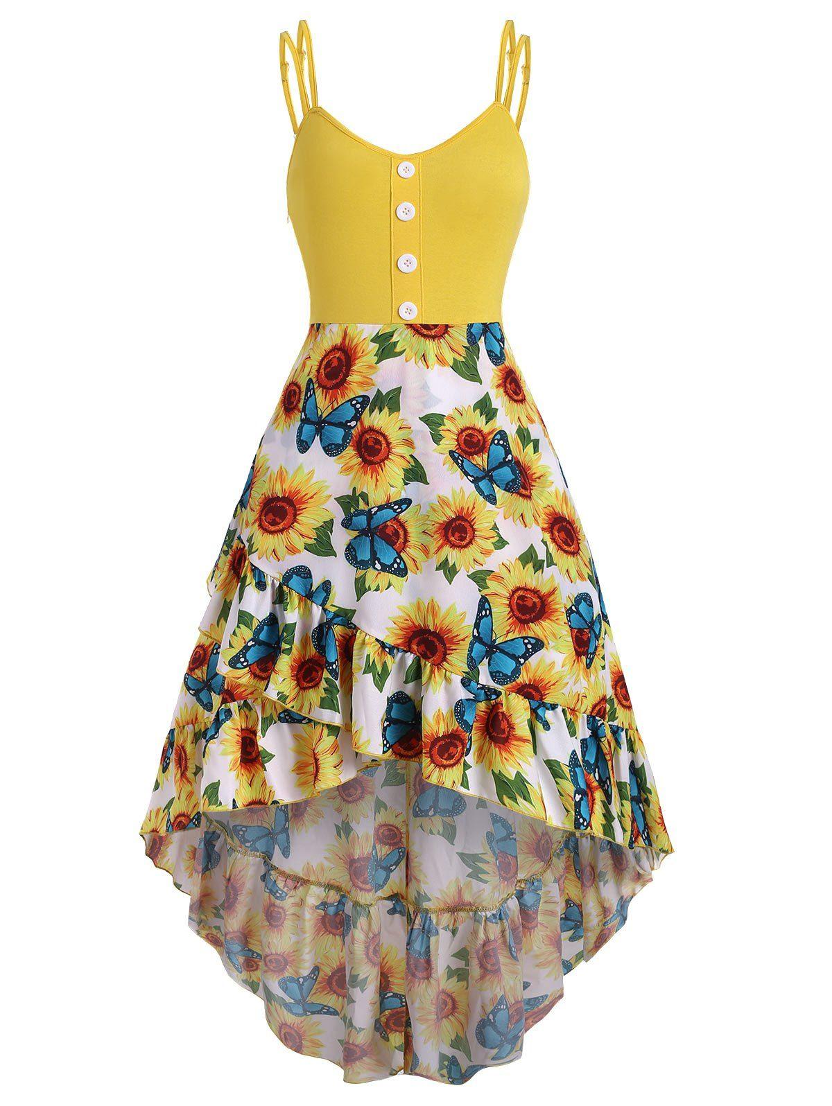 Flounce Sunflower Angel Scale Print Mermaid High Low Cami Dress Sleeveless Dress Summer Cami Dress Flounce Pattern [ 1596 x 1200 Pixel ]