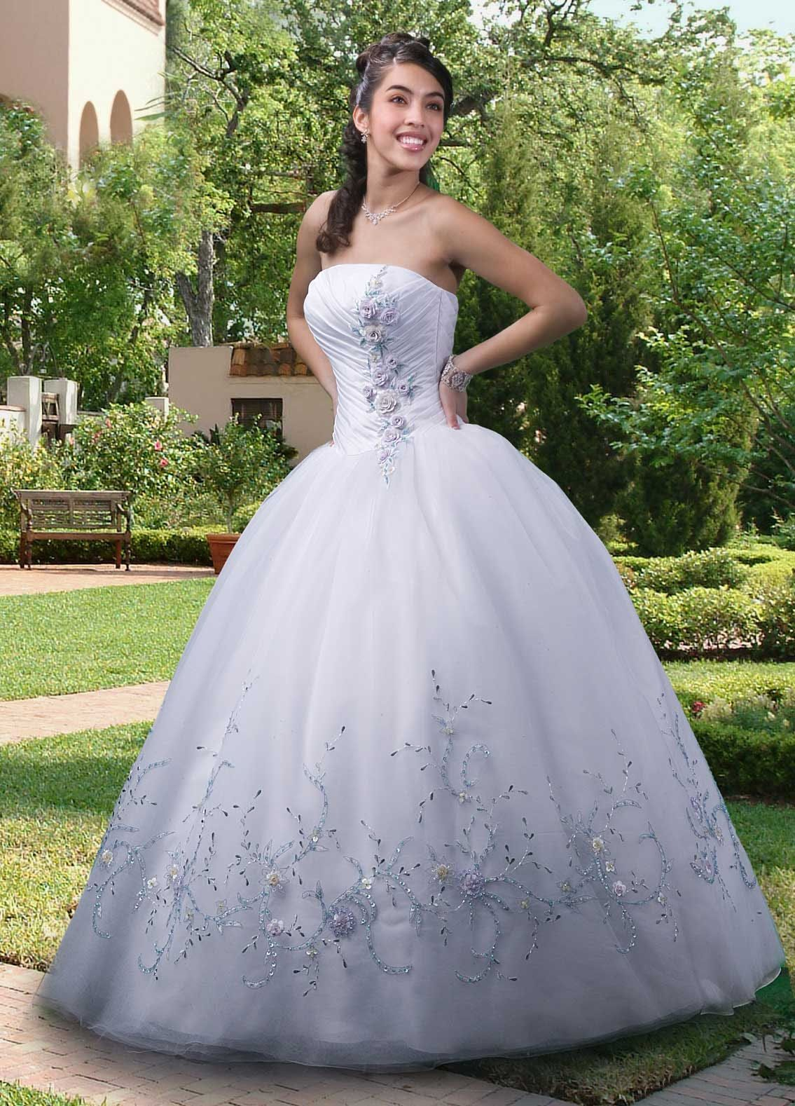 Ball gown strapless applique organza floorlength quinceanera dress