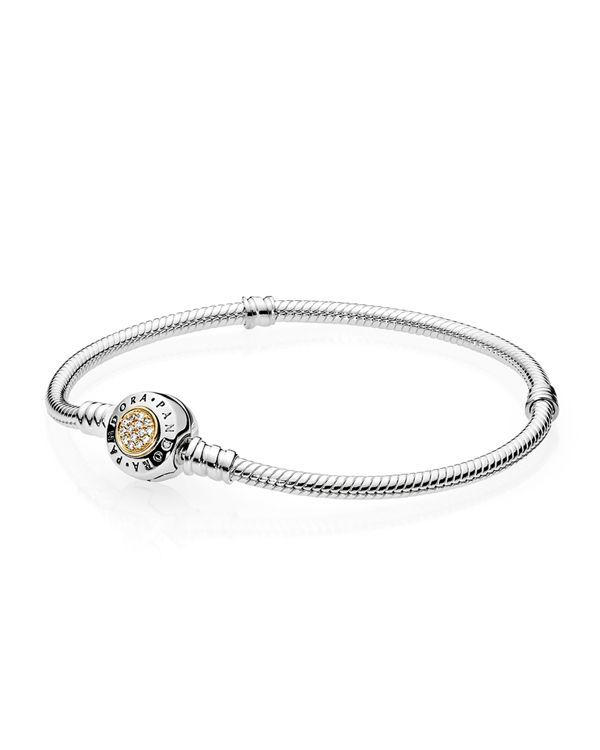 "Pandora Bracelet - Signature Sterling Silver, 14K Gold & Cubic Zirconia, Moments Collection | Imported | Style #590741CZ | Barrel clasp closure | Shop <a href=""http://www1.bloomingdales.com/shop/pando"