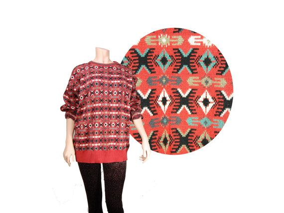 Oversized Red Geometric Navajo Print Sweater by IntertwinedVintage