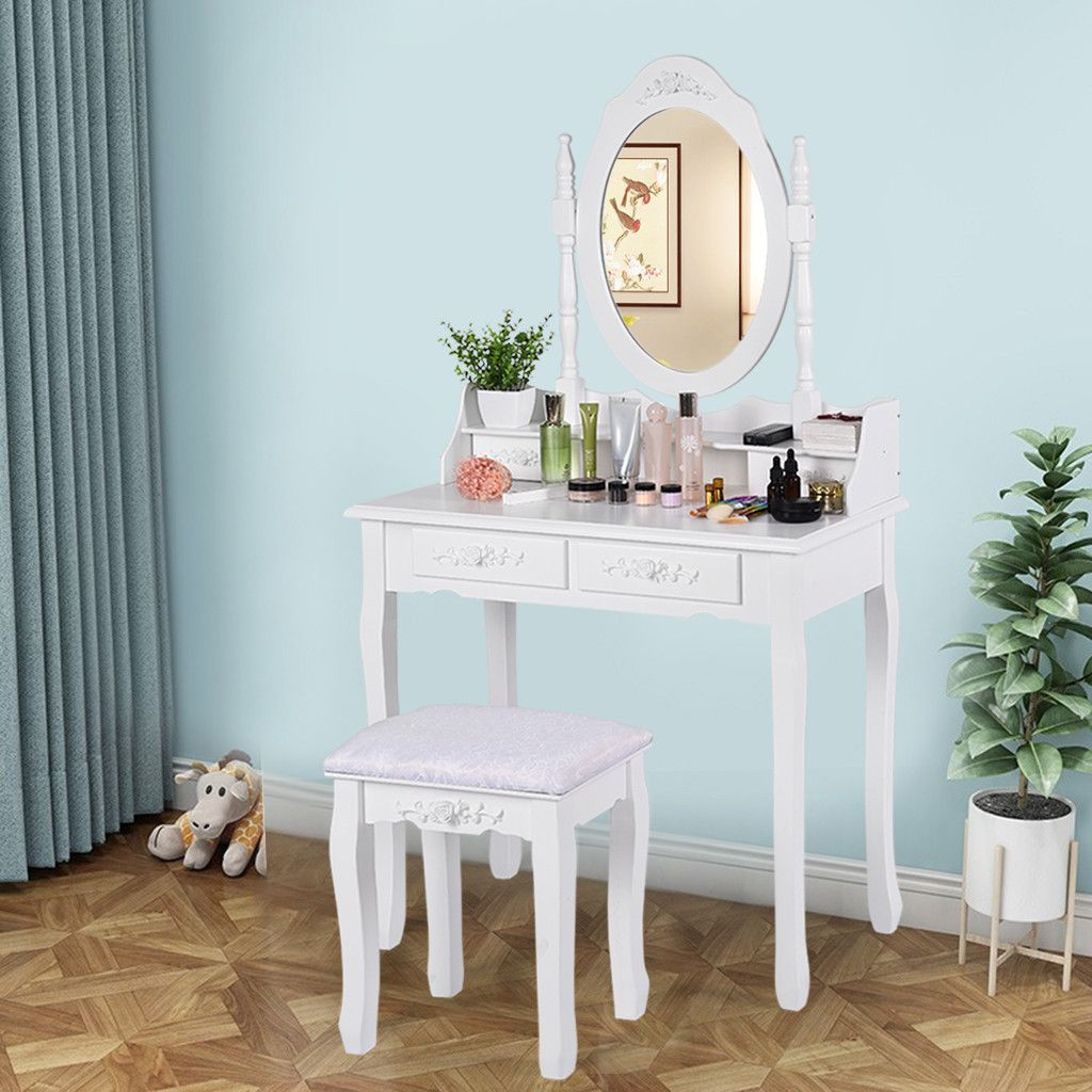 Dresser Table Mirror With Chair Set Vanity Table Makeup Stool Wooden 2 Drawers Modern Tocador Me Vanity Table Set Dressing Table Vanity 4 Drawer Dressing Table