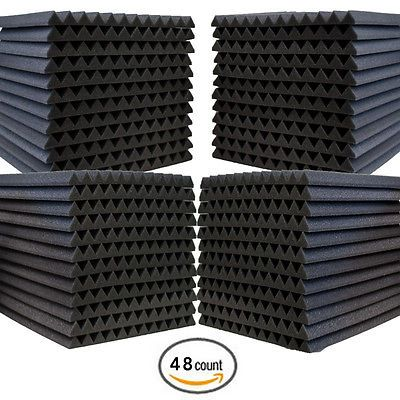 48 Pack Acoustic Wedge Studio Soundproofing Foam Wall Tiles 12 X 12 X 1 Sound Proofing Acoustic Panels Studio Foam