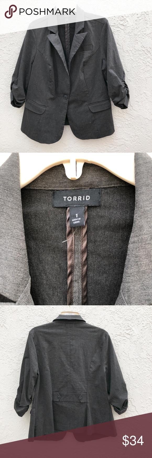72a8bdfefb0 Torrid Grey Blazer Cinched 3 4 Sleeve Size 1 Torrid Grey Blazer Cinched 3