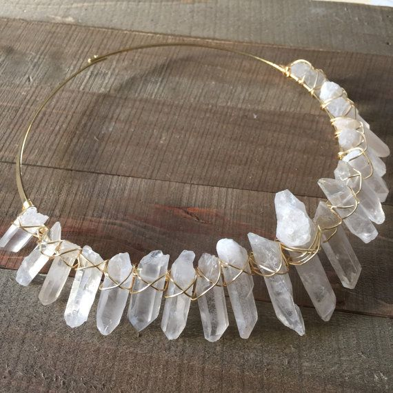 High Priestess Quartz Collar Necklace/ Clear Quartz by EwelinaPas