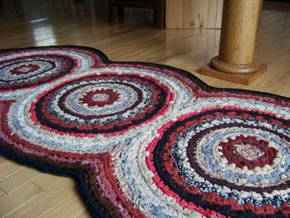 Triple Disc Crocheted Rag Rug Runner Your Custom Colors Crochet Rag Rug Rag Rug Rugs