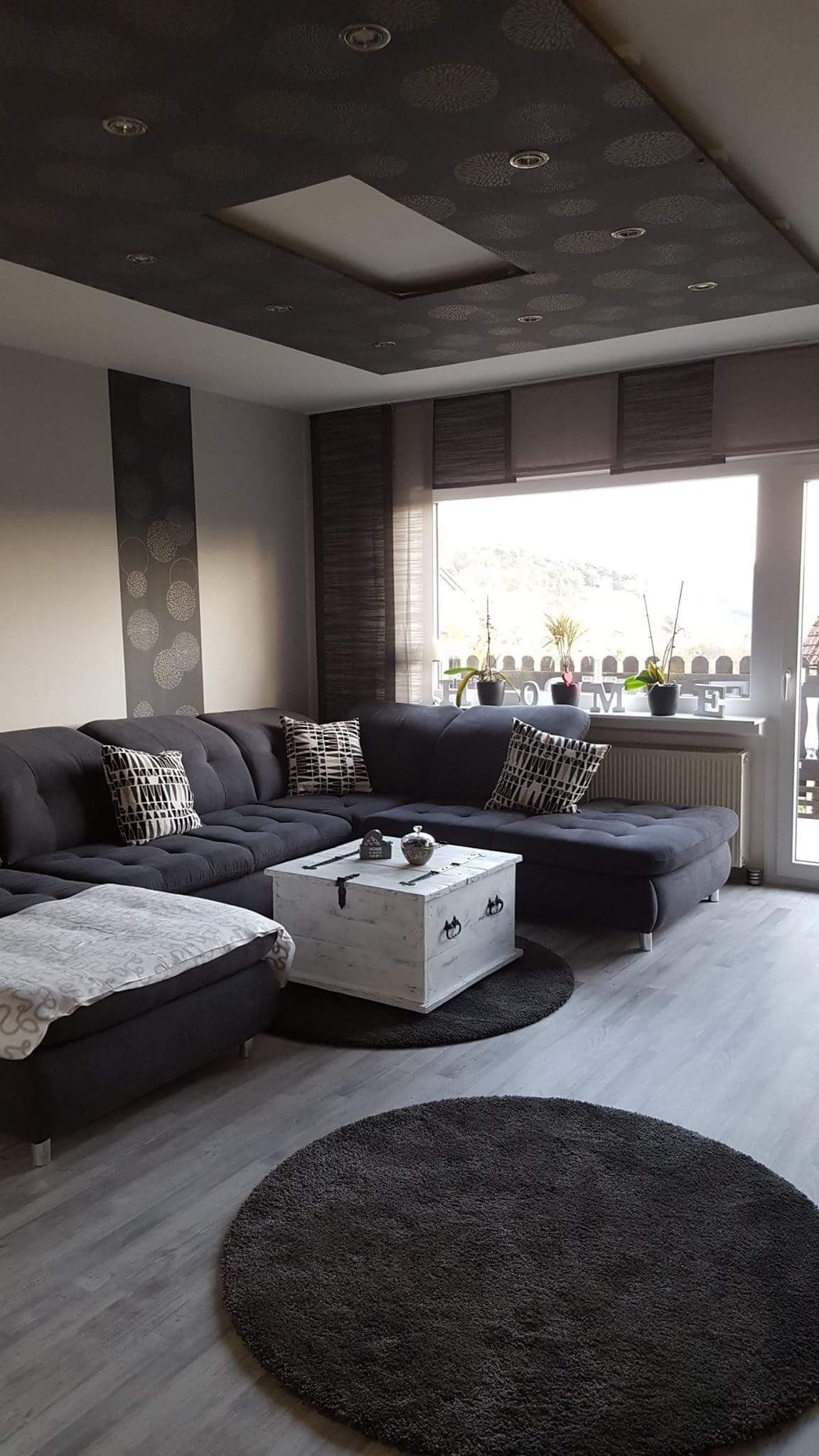 Wohnzimmer grau-weiß, Living Room grey-white | Wohnzimmer grau ...