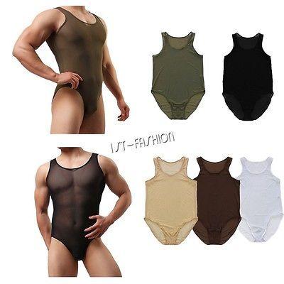 Men Lingerie Mesh Bodysuit Thongs Jumpsuit Wrestling Singlet Underwear Playsuit