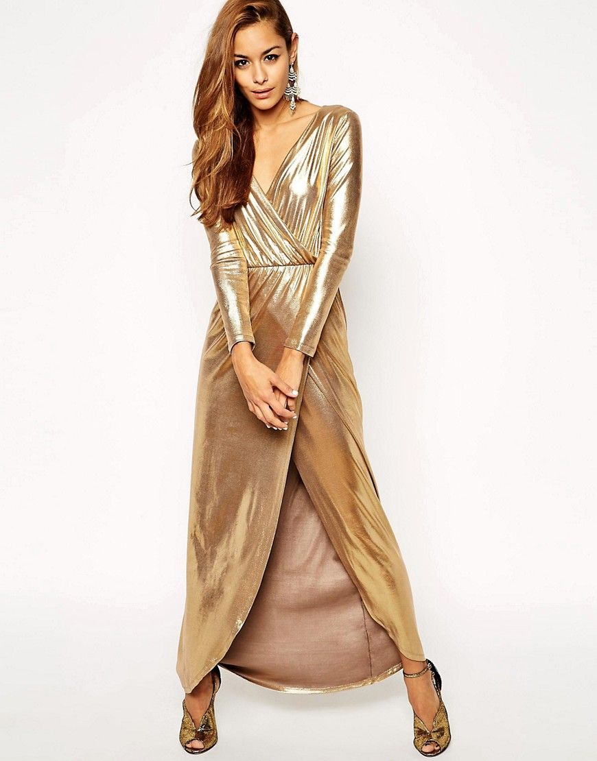 0e11b9d186 ASOS Sexy Gold Wrap Maxi Dress