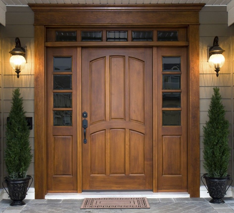 Furniture Awesome Wooden Front Door With Fancy Two Lamp On The